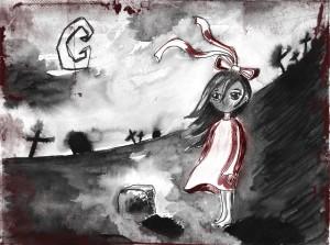 Boso dekletce v rdeči obleki